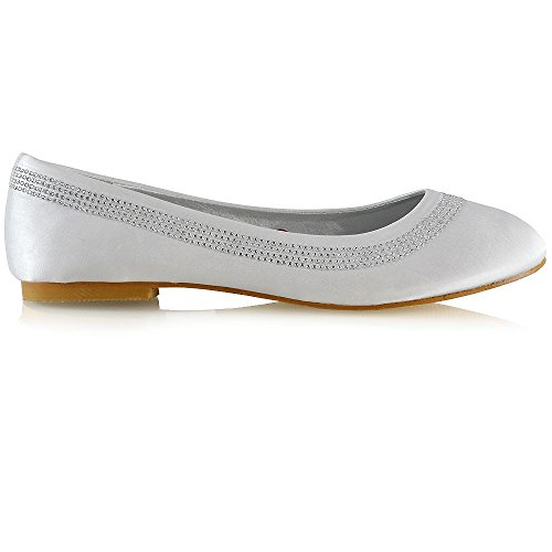 Vegan Diamant (ESSEX GLAM Damen Flach Schlüpfen Ballerinas Frau Diamant Braut Weiß Satin Schuhe EU 40)