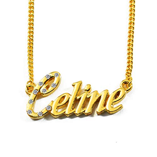 ierter Name - 18 Karat Vergoldete Halskette - Verstellbare Kette 16
