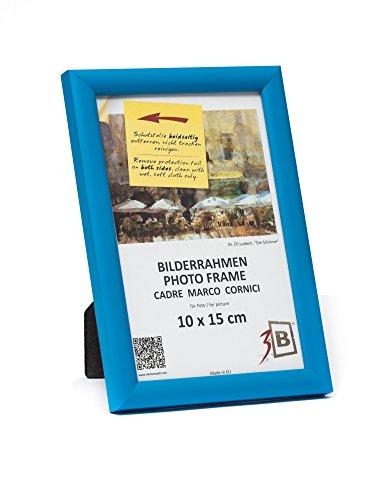 3-B Bilderrahmen Ulm 10x15 cm - Hell Blau - Holzrahmen, Fotorahmen, Portraitrahmen mit Plexiglas (Braun Folie Ersatz)