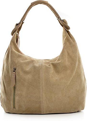 Happy Hobo Handtasche (CNTMP, Damen Handtaschen, Hobo-Bags, Schultertaschen, Beutel, Beuteltaschen, Trend-Bags, Velours, Veloursleder, Wildleder, Leder Tasche, DIN-A4, 44x36x4cm (B x H x T) (Helltaupe))