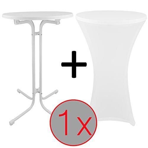 proheim Steh-Tisch Set mit passender Stretch-Husse Bistro-Tisch / Klapp-Tisch mit elastischer Stehtisch-Husse, Farbe:Weiß, Menge:Einzeln, Größe:Ø 70 cm
