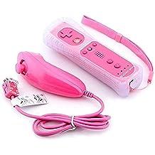 Mini Kitty 2 en 1 Mando Plus con Motion Plus y Nunchunk para Nintendo Wii (Opcional a Seis Colores) + Funda de Silicona - Rosa