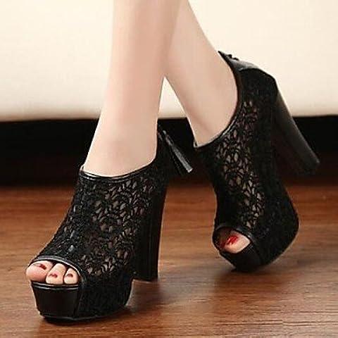 Mujer PeepToe Zapatos zapatos de las mujeres liangmeiyue botines peep toe tacón grueso más colores