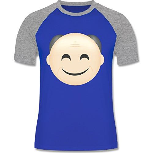 Opa - Opa Emoji - zweifarbiges Baseballshirt für Männer Royalblau/Grau meliert