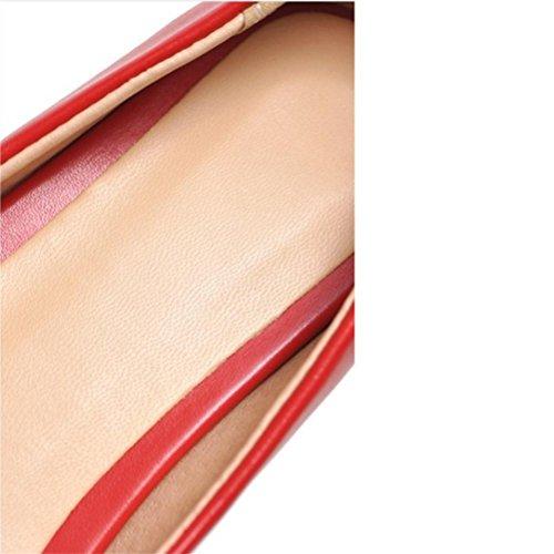 QPYC Femmina Scarpe singole appuntito Appartamento con Scarpe basse Bocca poco profonda Codice di formato Scarpe casual Red