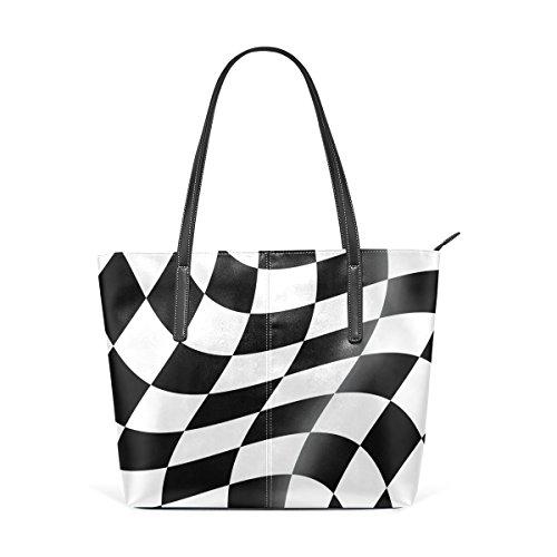 (COOSUN schwarz und weiß Cheked Racing Flag PU Leder Schultertasche Handtasche und Handtaschen Tasche für Frauen)