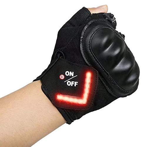 SODIAL Fahrrad Handschuhe Intelligente Led Turn Automatische Induktion Blinker Handschuhe Warn Licht Handschuhe Au?en REIT Handschuhe Fahrrad Fahrrad Handschuhe -Schwarz