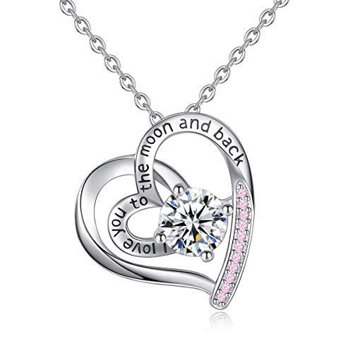 Damen 925 Sterling Silber Herzform Liebe Nachricht Eingraviert Anhänger Halsketten Kette 46CM, CELESTIA Schmuck, Geschenke Mädchen,