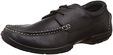Woodland Men's Black Leather Lace Up Shoes - 5 UK/India (39 EU)
