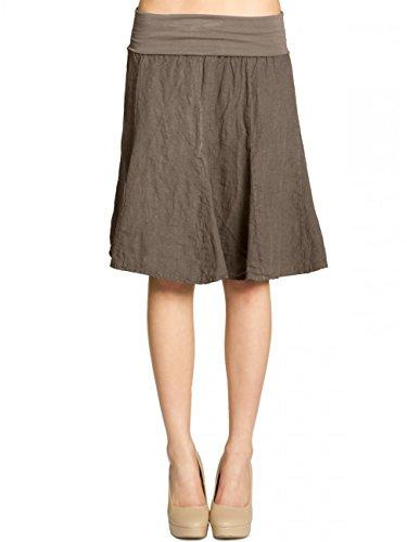 CASPAR RO014 Damen Leinenrock mit figurfreundlichem Stretch Bund, Farbe:taupe;Größe:One Size