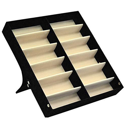 Aufbewahrungsbox für Sonnenbrillen, 12 Fächer, Brillenetui, Ständer für Brillen - mit Deckel aus Wildleder innen - Schmuckkoffer Organizer, schwarz