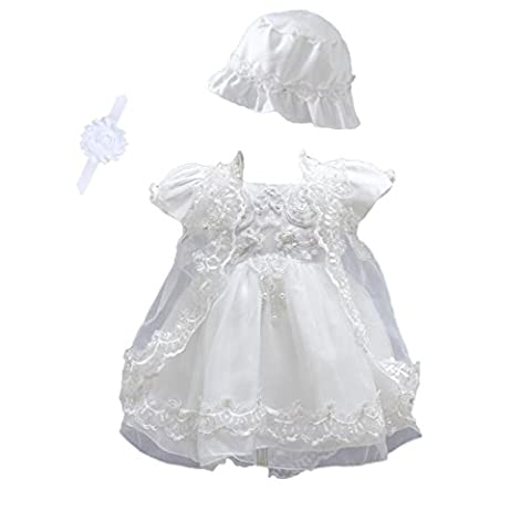 Lace Embroidered White Ivory Baby Girls' Baptism Dress (0-6Months,