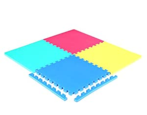 ResultSport - Interlocking Gym Floor Mat - 4 tiles pack With Edge Pieces, ideal for Yoga, Pilates, Martial Art, Baby Play Area and Gym