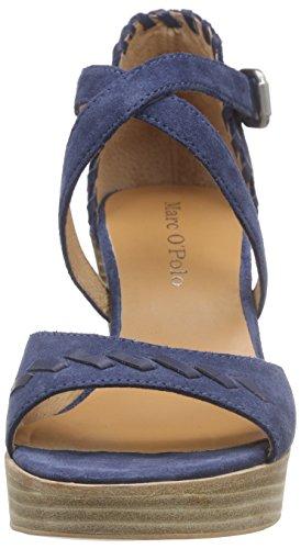 Marc O'Polo High Heel Sandal, Sandales Plateau Femme Bleu - Blau (jeans 860)