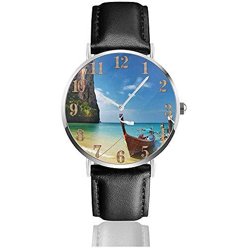 Tailandia Tropical Beach Boats Clo Reloj de Cuero Relojes de Pulsera Resistente a rayones Reloj de Cuarzo...