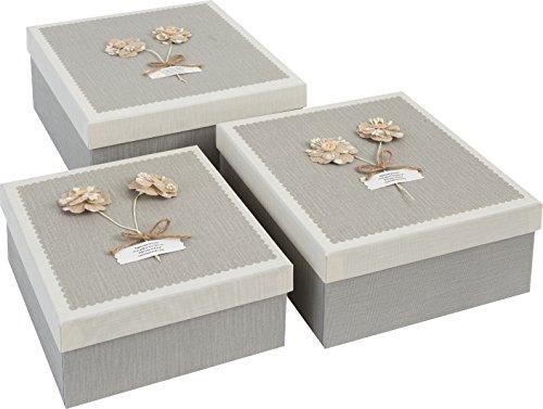 Emartbuy Set Mit 3 Starren Luxus Quatratische Präsentation Geschenkbox, Grauer Kasten Mit Creme Deckel, Braunen Interieur Und Schaltfläche Blume Dekorative Muster - Unten Big Zylinder
