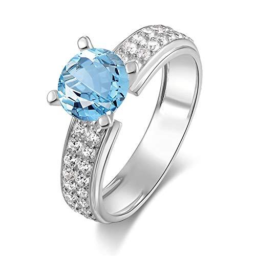 KnSam Damen-Ring 925 Sterling Silber Hochzeitsringe Topas Zirkonia Kristall Antragsring Silberring für Frau Mädchen Ringgröße 60 (19.1) Modeschmuck