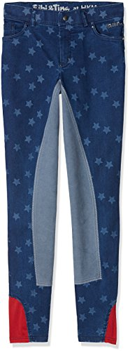 HKM Erwachsene Jeans-Reithose-Bibi&Tina Stars-3/4 Besatz6100 jeansblau134 Hose, 6100 Jeansblau, 134