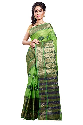 Loom&Crafts Women's Cotton Saree (As-498_Green)