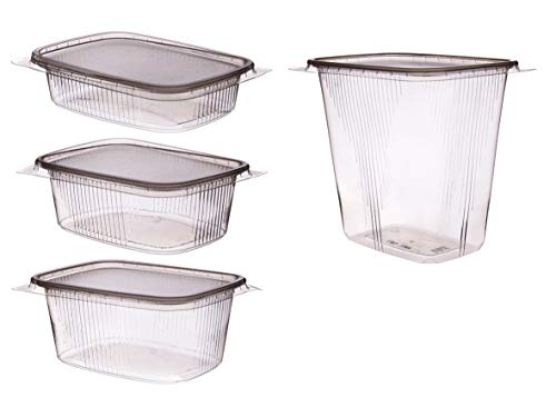 250 Feinkost Verpackungsbecher Feinkostbecher Salatbecher eckig Rechteckbecher mit Deckel klar/transparent PP temperaturbeständig versch. Größen - Inklusive Verpackungslizenz in D (200g 108x82x42mm)