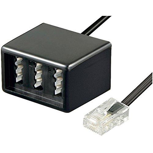 erenLine® RJ45 auf Tae Adapter- Verteiler für Telefon/ISDN; RJ45 Stecker auf 3 Tae Buchsen (NFN); Kabellänge: 20 cm