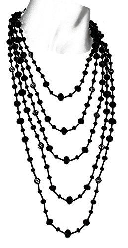 GWANDA - Collana made in Italy, 5 fili in cristallo e vetro Nero, con piccoli esagoni in plexi,la lunghezza del filo corto è regolabile da 46 a 52 cm. Il filo più lungo da 76 a 82 cm.