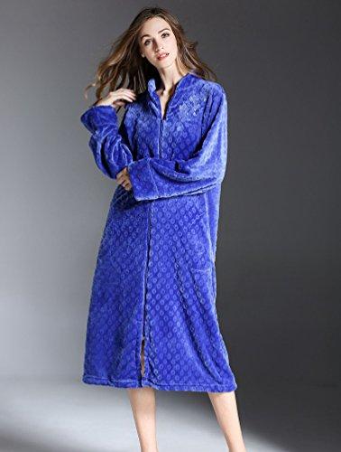 Yuncai Elegante Ricamare Donna Accappatoio Morbido Accogliente Donna Vestaglia Toga Cerniera Taglia Larga Zaffiro