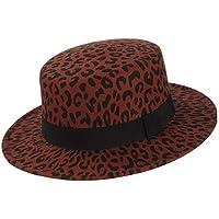 Moda Moda otoño invierno de ala ancha con estampado de leopardo 100% lana sombrero de copa plana señoras de los hombres del jazz Sombrero Negro Band Fedora suave ( Color : Wine red , Size : 56-58 )