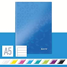 Leitz A5 Hard Cover Notebook, Blue (80 Sheets, Ruled, 90 gsm Ivory Paper, Wow Range)