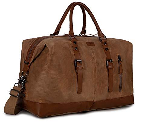 BAOSHA HB-14 Gewachstes Canvas Reisetaschen, Großräumige Handtasche Handgepäck Schultertasch Segeltuch Herren Weekender Sporttasche Reisetasche für Reise am Wochenend Urlaub (Braun)