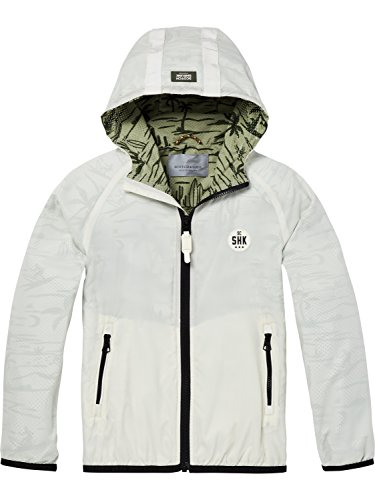 Scotch & Soda Shrunk Jungen Jacke Double Layer Nylon Jacket with Tape Detail at Hood, Weiß (Sage 0792), 152 (Herstellergröße: 12) (Kapuze Tape)