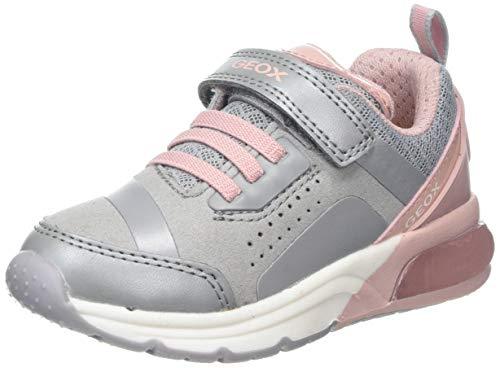 Geox J SPACECLUB GIRL C Light-up Sneakers, Grey/Pink C0502 1 UK