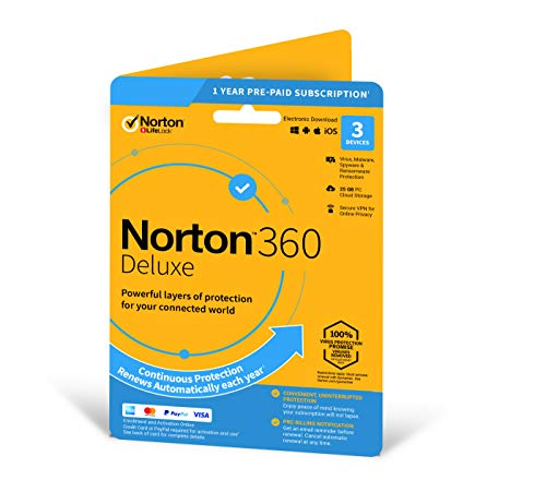 norton 360 deluxe 2020 | 3 devices | 1 year | includes secure vpn and password manager | pcs, mac, smartphones and tablets | activation code by post