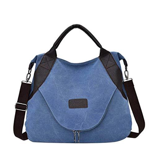 Ohyoulive Women Messenger Bag Canvas Zipper Handbag Travel Casual Crossbody Shoulder Bags (39 x 48 x 10cm)