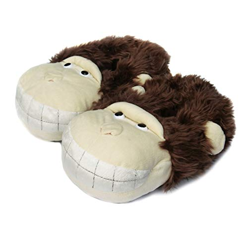 Onmygogo Fuzzy Winter Animal Slippers for Men and Women, Happy Smiling Monkey