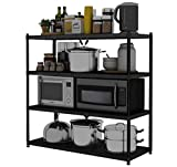 HUYYA Kitchen Storage Shelf Unit Rack Utility, 4-Tier Pantry/Bakers Microwave Rack Multi-Functional Shelving Unit,Black_32x14x60inch