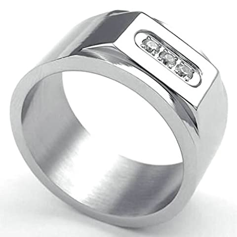 AMDXD Jewelry Stainless Steel Wedding Bands for Men Silver Rectangle Shaped ,Size T 1/2