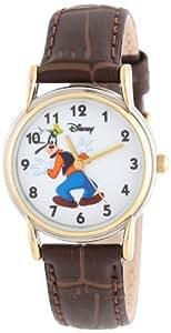 Disney Women's Goofy Bi-Color Cardiff Brown Croco Leather Strap Watch #0803C004D075S007