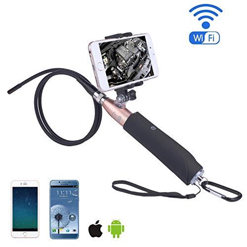 Preisvergleich Produktbild JIANG BREEZE Endoskop-HD Handle WiFi Inspektionskamera Handset Controller Borescope Video IP67 Wasserdicht Mit 6 verstellbaren LED-Leuchten für Android ios, 5mmlens