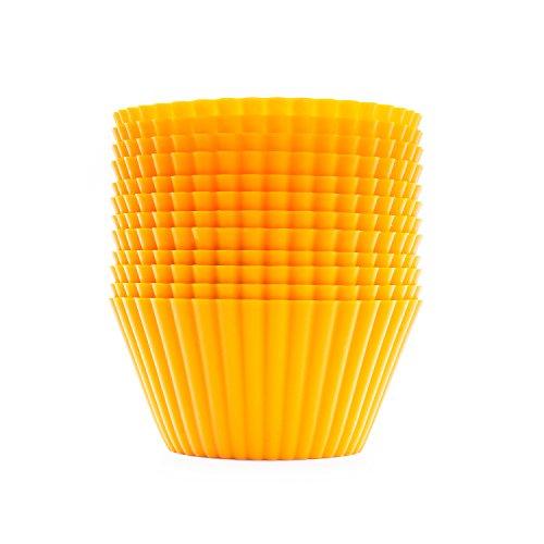 beicemania Muffin Förmchen Silikon Rund Gelb 7cm 12er Pack Energy-Yellow