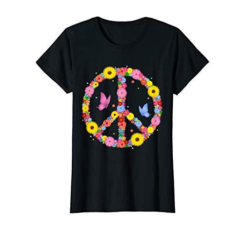 Hippie Kostüm Der Liebe Kind - Peace Symbol mit Schmetterling I 60er 70er Jahre Hippies T-Shirt