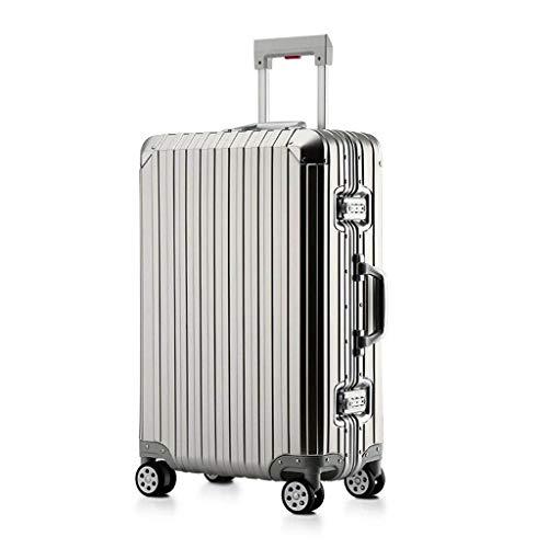 Koffer Kofferraumschloss Koffer mit TSA-Schloss und 4 drehbaren Radkoffern [20 Zoll] (Color : Silver, Size : 20 inches/36x23x55cm)
