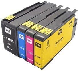 Printing Pleasure 4 Compatibles HP 711XL Cartuchos de Tinta Reemplazo para HP Designjet T120 T520 - Negro/Cian/Magenta/Amarillo, Alta Capacidad