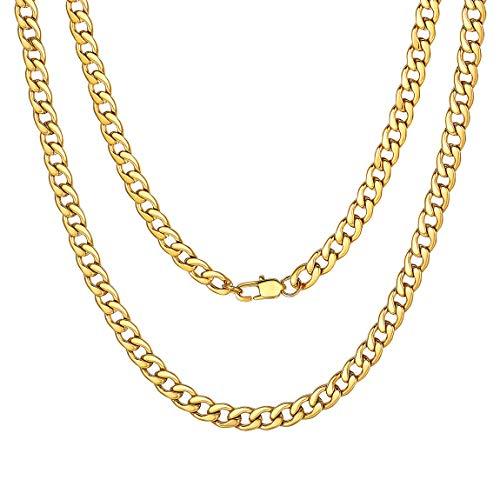 ChainsPro Klassische Herren Halskette 316L Edelstahl Silber Edelstahl Kette ohne Anhänger Vergoldet 51cm (5mm) - Edelstahl Kette Vergoldete