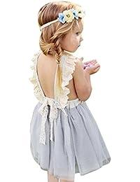 Vestido de niñas ,❤️ Manadlian Niña Vestido de chaleco de mariposa de paño estereoscópico de niñas Vestido de princesa Ropa de trajes para 2-6 años