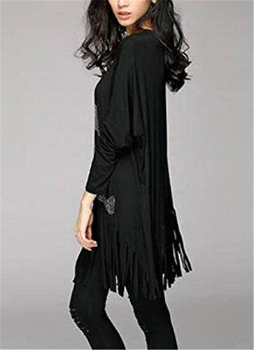 AILIENT Blouse Femme Classique Tee Shirt Manche Longue Crâne Imprime Basique Col Rond Classic Top Mode Fashion Avec Gland Black