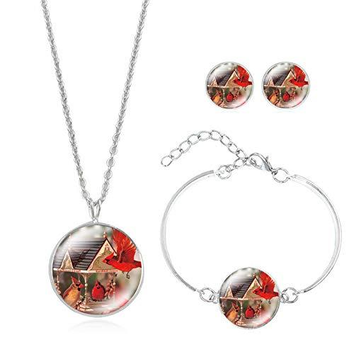 upnanren Tier Thema Zeit Edelstein Halskette Ohrringe Armband Set kleines Geschenk