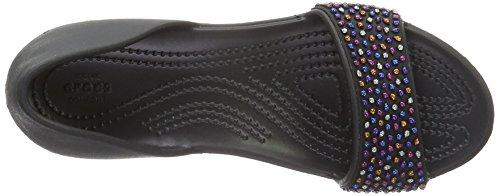 Crocs 204361, Ballerine Aperte Donna Nero (Black/Multi)