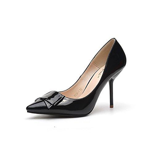 Punta di alta scarpe tacco sottolineato scarpe con i tacchi alti fine con 9.5cm Bow Tie donne singoli pattini Black