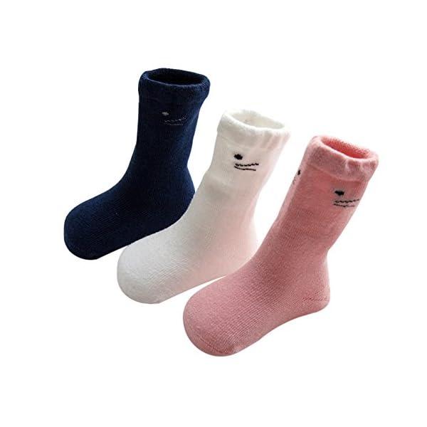 DEBAIJIA 3 Pares Unisex Calcetines Gruesos para Bebés Calcetines Largos de Algodón Suela Antideslizantes para Niños de 0… 1
